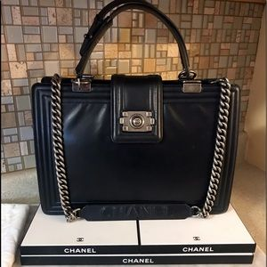 Auth. Chanel Black Le Boy Jumbo Reverso Tote Bag